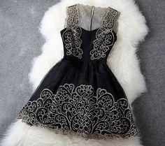 Black Lace Dress XD01MH