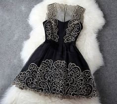 I want this dress!!! Eeeek!  Fashion Designer Gorgeous Embroidered Lace Dress - Black