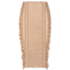Balmain Ruched Skirt ($1,800) ❤ liked on Polyvore featuring skirts, neutrals, balmain skirt, balmain, gathered skirt, ruched skirt and shirred skirt