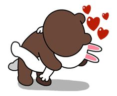Brown & Cony's Lovey Dovey Date sticker Love You Gif, Cute Love Gif, Cute Cat Gif, Love Cartoon Couple, Cute Love Cartoons, Cartoon Stickers, Love Stickers, Calin Gif, Cartoon Kiss