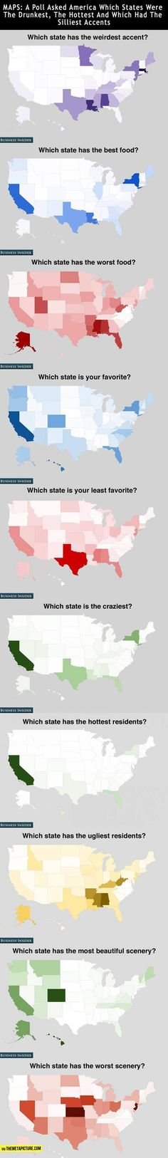 How Americans feel about the states... Seriously? Some of these states you'd actually have to live in in order to judge it the way these people were