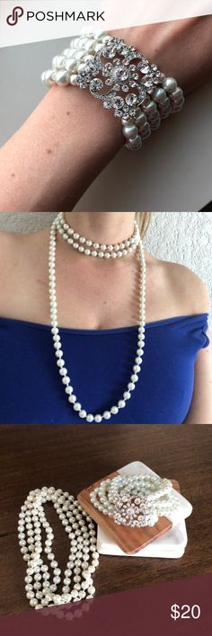 "Faux Pearl Jewelry Set Pretty pearl necklace & bracelet set. Necklaces is 29.5"" long. Bracelet is one size fits all. Wore once to a Great Gatsby Gala and received many compliments. Jewelry Bracelets"