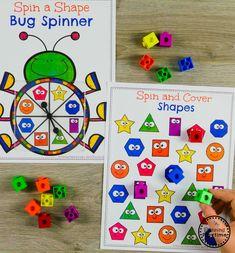 Roll and Cover Kindergarten Math Games for Shapes #kindergarten #kindergartenmath #shapes #geometry #kindergartenworksheets #mathgames #planningplaytime