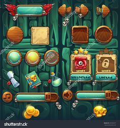 Jungle Shamans Gui Icons Buttons Set Vector Elements For Computers Game Interface And Web Design - 391954477 : Shutterstock