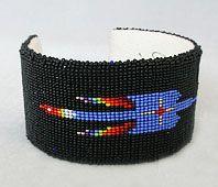 Weryackwe black/multi waterbird bracelet, Comanche