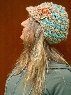 BOHEMIAN Slouchy Beanie crochet slouch hat FLOWER cap NEWSBOY hat interwoven pattern Hippie gypsy funky hat blue beige made to order. $49.00, via Etsy.