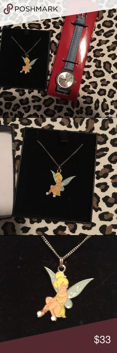 • Disneys tinkerbell watch and necklace • Both are authentic and new. Watch needs a new battery. Bundle to save. Disney Jewelry Necklaces
