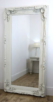 Chelsea Ornate Carved Louis French Style Wall Leaner Mirror White x XL White Ornate Mirror, Large Vintage Mirror, White Wall Mirrors, French Bedroom Decor, French Decor, Hall Mirrors, Floor Mirrors, Leaner Mirror, Shabby Chic Mirror