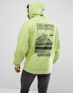 ASOS Oversized Hoodie with Back Print - Green
