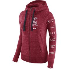Women's Los Angeles Angels of Anaheim Nike Heather Red Vintage Full-Zip Hoodie