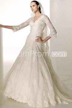 Amazing A-Line V-Neck 3/4-length Sleeves Floor-length Chapel Wedding Dresses (3AD0167)