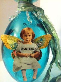 Altered Bottle Assemblage, Joyful Soul Fairy, Blue glass bottle