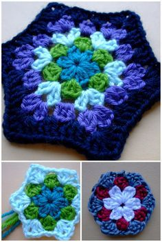 Springtime Hexagon, about 4 to 4.5 inches across with DK yarn & an F hook. #crochet #granny_hexagon