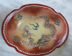 """Raised Scaled Dragon Ware Bowl 6"""" Long Dish TWNC Japan, Brown Pottery Oriental"""