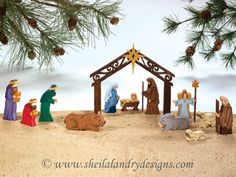 SLD316 - Scrolled Nativity Set w/ Optional Painting Instructions