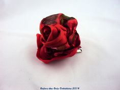 barrette soie , rose rouge