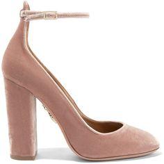 Aquazzura Alix velvet pumps ($580) ❤ liked on Polyvore featuring shoes, pumps, ankle strap, aquazzura, heels, block heel pumps, high heeled footwear, high heel shoes, high heel pumps and high heel mary janes
