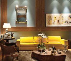 Ideia de decoração para sala da Gleice! Tons neutros combinando com o amarelo do sofá! Projeto designer de interiores Iara Kílaris    ...