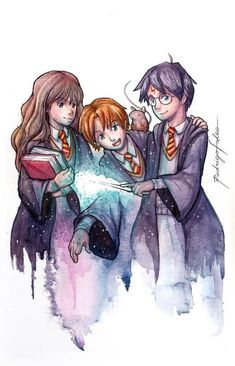Excited to share the latest addition to my shop: Harry Potter, Hermione an. - Excited to share the latest addition to my shop: Harry Potter, Hermione and Rony Fanart Water - Harry Potter Tumblr, Harry Potter Anime, Harry Potter Hermione, Harry Potter Fan Art, Images Harry Potter, Harry Potter Painting, Cute Harry Potter, Mundo Harry Potter, Harry Potter Drawings