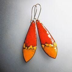 Orange and yellow dangle earrings, enamel long drop earrings, bohemian jewelry, gold wires