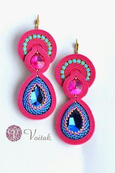 Soutache Jewelry. Artystyczna Biżuteria Autorska Katarzyna Wojtak: #0053 Caramel rosa. Kolczyki sutasz.