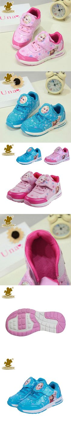 Children Shoes Cartoon Princess Girl Shoes Fashion Casual Sneakers Patent Leather Kids Shoes Pink Blue Snow Queen Ella Sneakers