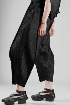 13e0ad76d2f PLEATS PLEASE Issey Miyake - Wide Trousers In Polyester Plissé With  Straight Vertical Line