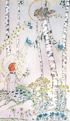 The Enchanted Birches by Jessie M. King (Scottish 1875-1949)