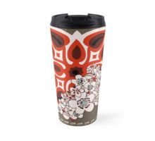 MId Century Hawaiian Travel Mug by Vikki Salmela #new #vintage #Hawaiian #quilt design with #retro #Mid Century #Modern #flowers in #red #brown #creme #art on #travel #mugs for #car #beverages #school #office or #gift