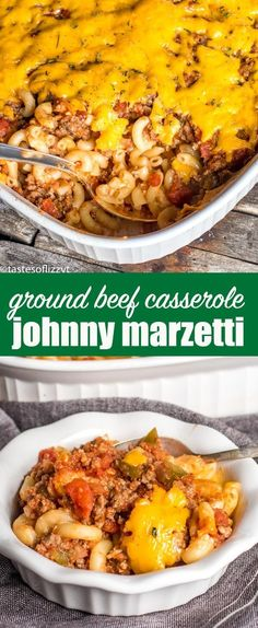 This easy Johnny Marzetti casserole is a traditional Ohio recipe that is a great make-ahead casserole for potlucks because it serves a crowd! This ground beef and sausage casserole is full of noodles, cheese and Italian flavor.     via @tastesoflizzyt