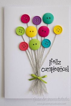 carte anniversaire (tutoriel gratuit - DIY) - tutolibre a simple DIY for a small personal card to de Kids Crafts, Diy And Crafts, Craft Projects, Paper Crafts, Card Crafts, Cute Cards, Diy Cards, Button Cards, Homemade Cards