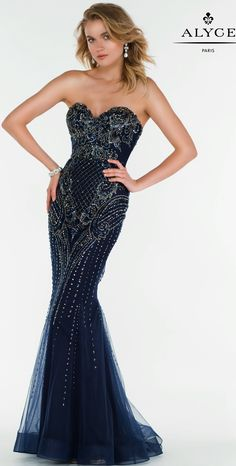 Prom Dresses Evening Dresses by ALYCE PARIS<BR>aay6750<BR>Fully beaded tulle gown with a sweetheart neckline and a slight v back.