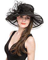 Saferin Women Kentucky Derby Church Dress Organza Hat Wide Brim Flat Hat  Black at Amazon Women s Clothing store  6f957fbc596a