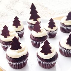35 Charming Christmas Tree Cupcake Design - Cupcakes Gallery - Page 10 Christmas Cupcakes Decoration, Christmas Tree Cupcakes, Best Christmas Cookies, Christmas Desserts, Christmas Treats, Christmas Baking, Christmas Fun, Canadian Christmas, Gooey Butter Cookies