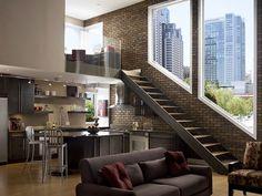 loft with faux brick veneer Style At Home, Home Deco, Loft Design, House Design, Studio Design, Garden Design, Architecture Design, Loft Stil, Style Loft