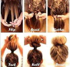 Image via We Heart It https://weheartit.com/entry/111722156/via/9883695 #braid #bun #cute #diy #Easy #fast #hair #tutorial