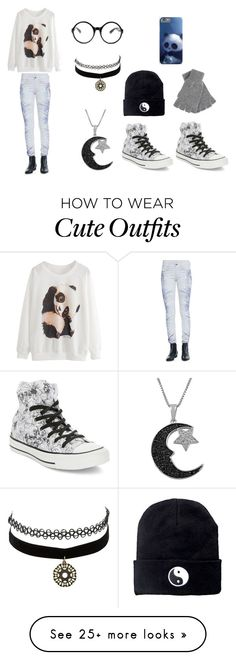 """""""Cute black & white outfit"""" by lightningsthunder on Polyvore featuring Converse, IRO, Charlotte Russe, Jewel Exclusive, Johnstons and Tobi"""