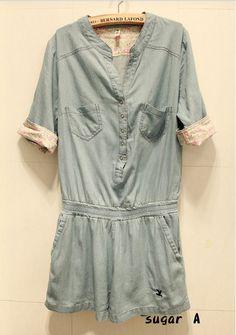 2013 azul Moda V cuello enrollar las mangas de mezclilla mono del verano párrafo las Mujeres dama traje del mameluco de los pantalones de corto ...