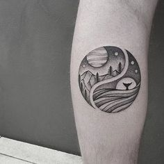 tatto black white forest whale