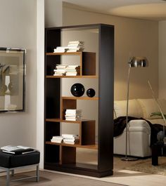 Bookshelves Decorating Ideas for Living Room Book Shelf Decorating Idea & Tip Bookshelves Decorating Ideas for Living Room. If you have bookshelves in your home, and lots of books, you've… Living Room Partition Design, Living Room Divider, Room Partition Designs, Home Decor Furniture, Furniture Design, Modern Room, Home Projects, Bookshelves, Shelving