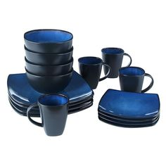 16 Piece Square Reactive Glaze Dinnerware Set Dinner Blue Cup Dishes Kitchen New #Gibson