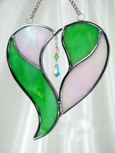 Multimedia Stained Glass Heart Suncatcher in Pale Pink and Green with Swarovski AB teardrop on Sterling Silver Chain.
