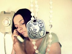 """Comics """"Waiting for SMS"""" rosary style necklace. OOAK, vintage, geekery inspired, handmade of glass cat eye beads #681team"""
