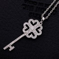 Lucky Necklace Jewelry Birthday Gift Platinum Plated Micro Pave CZ Four Leaf Clover Key Shaped Women Statement Necklaces