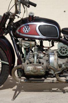 1966 XAVW Von Dutch rat motorcycle with a VW engine is displayed at the Von Dutch Museum.
