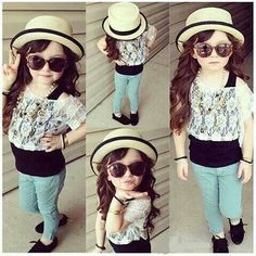 Mint jeans and lace top with flats. Super cute little girl outfit. Little girl fashion. Little fashionista. Little girl swag.