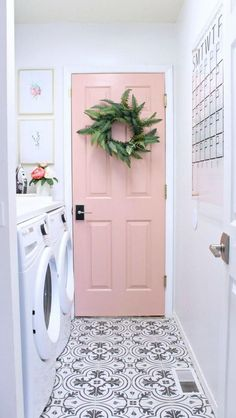 If this isn't a dream laundry room I don't know what it is. Side-by-side washer and dryer with folding counter, cement tile floors, and a light pink door. Wouldn't you love doing laundry in this laundry room? How to have a stylish laundry room. Home Design, Home Interior Design, Design Ideas, Floor Design, Design Styles, Design Design, Art Designs, Design Trends, Clever Design