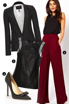 "1. Isabel Marant Hanoi Blazer, $775; mytheresa.com 2. ASOS Wide-Leg Pants, $47.47; target=""new"">asos.com 3. KaufmanFranco Leather, Satin, and Chiffon Top, $1,495; target=""new"">net-a-porter.com 4. Jimmy Choo Maya Studded Suede Bow Pumps, $1,150; target=""new"">saks.com - ELLE.com"