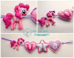 Filcowa girlanda z imieniem Ula i kucykiem Pony Pinky Pie, rękodzieło, felt name garland My little Pony Pinky Pie, handmade #felt #mylittlepony #pinkypie