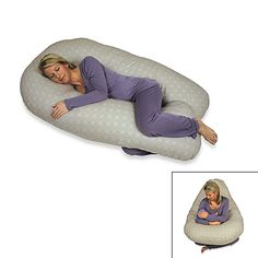 Horse-shoe shaped body pillow with inner contours caresses your body's natural curves. It provides equal support for back and tummy, and you don't have to reposition it, just turn yourself from side to side.